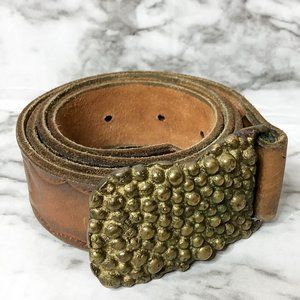 Handmade Brown Leather Belt with Unique Buckle